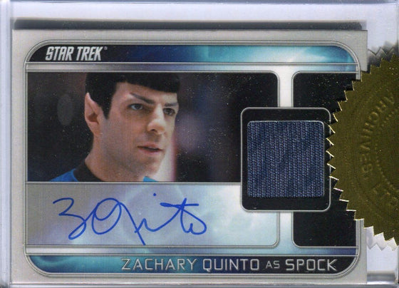 Star Trek Movie Into the Darkness Zachary Quinto Autograph Costume Card front