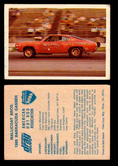 AHRA Official Drag Champs 1971 Fleer Vintage Trading Cards You Pick Singles 57   Mallicoat Bros.                                  1969 Barracuda Gasser  - TvMovieCards.com