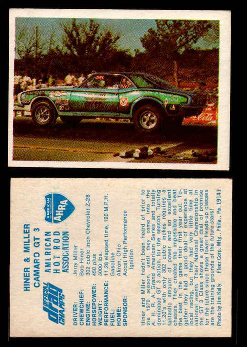 AHRA Official Drag Champs 1971 Fleer Vintage Trading Cards You Pick Singles 58   Hiner & Miller                                   Camaro GT 3  - TvMovieCards.com