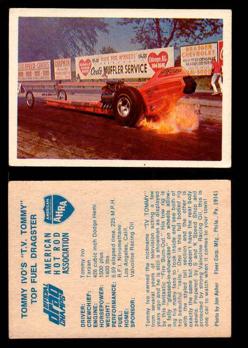 "AHRA Official Drag Champs 1971 Fleer Vintage Trading Cards You Pick Singles 59   Tommy Ivo's ""T.V. Tommy""                         Top Fuel Dragster  - TvMovieCards.com"