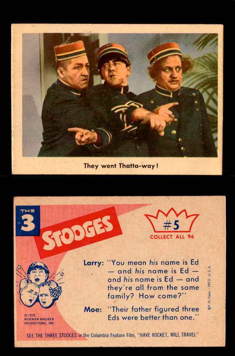 1959 Three 3 Stooges Fleer Vintage Trading Cards You Pick Singles #1-96 #5  - TvMovieCards.com