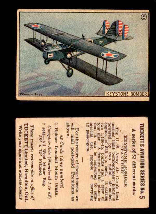 "1929 Tucketts Aviation Series 1 Vintage Trading Cards You Pick Singles #1-52 #5 Keystone Bomber ""Panter""  - TvMovieCards.com"