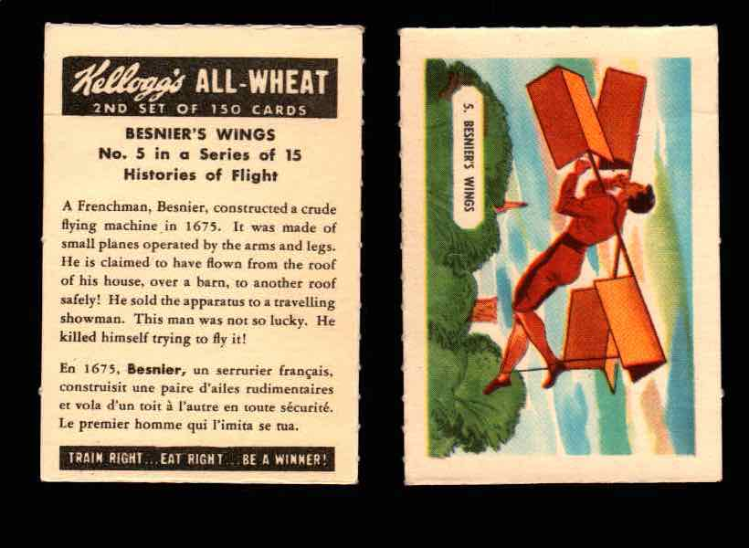 1946 Kelloggs All-Wheat Series 2 Histories of Flight Vintage Card #1-15 Singles #5 Besnier's Wings  - TvMovieCards.com
