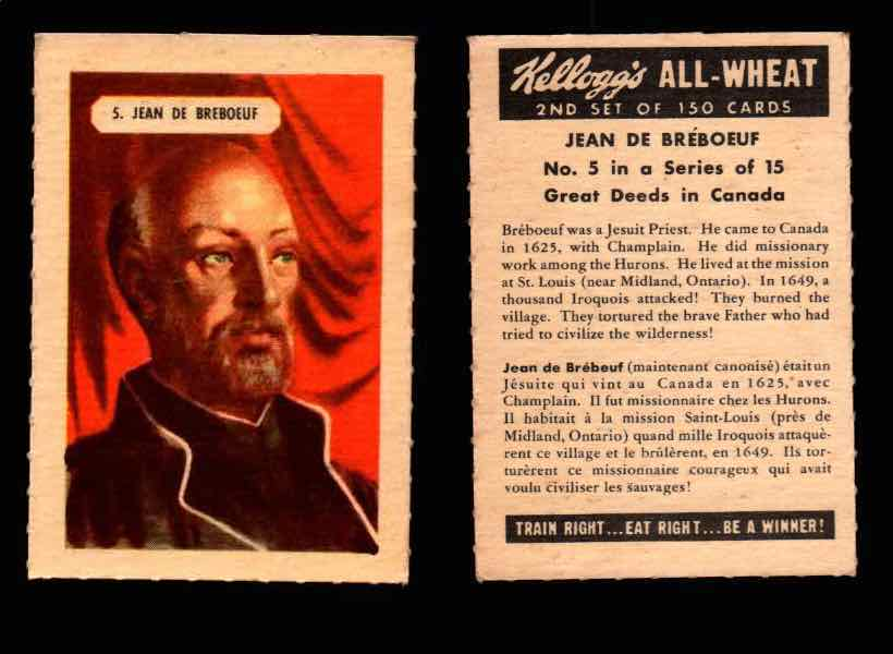 1946 Kelloggs All-Wheat Series 2 Great Deeds in Canada Vintage Card #1-15 Singles #5 Jean De Breboeuf  - TvMovieCards.com