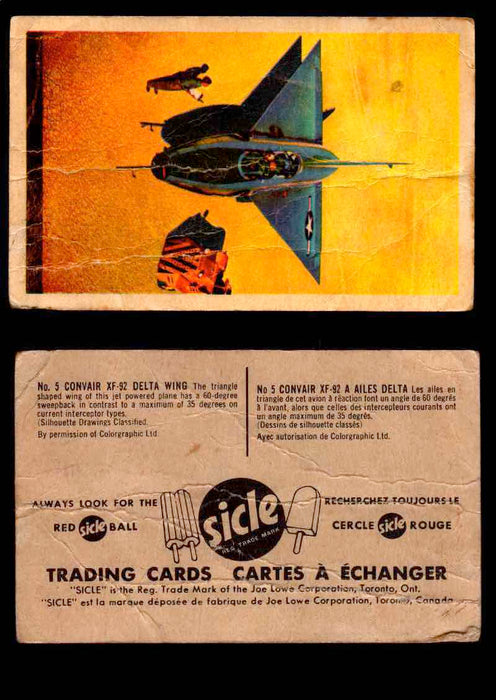 1959 Sicle Aircraft & Missile Canadian Vintage Trading Card U Pick Singles #1-25 #5 Convair XF-92 Delta Wing  - TvMovieCards.com