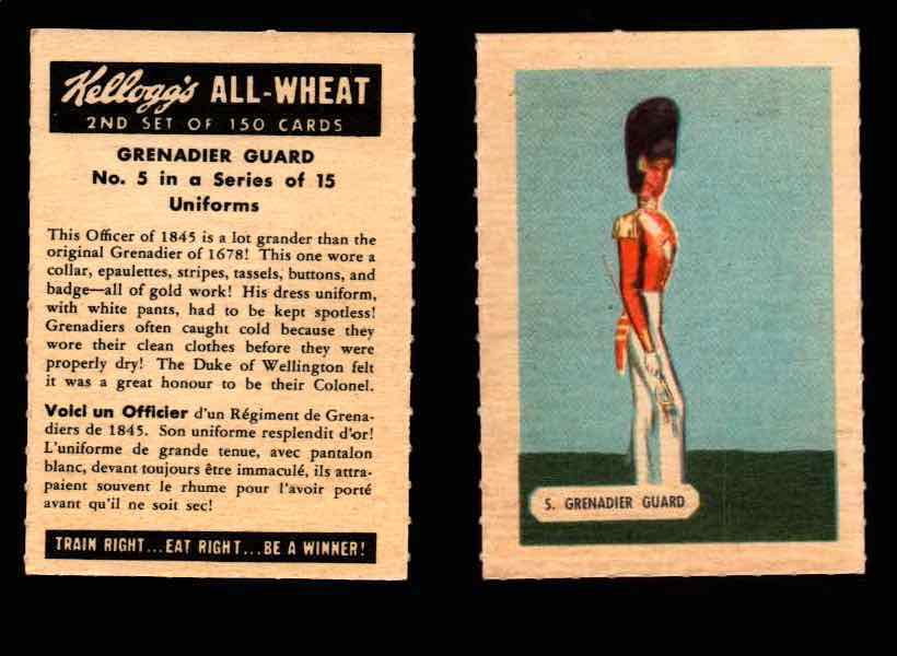 1946 Kelloggs All-Wheat Series 2 Uniforms Vintage Trading Cards #1-15 Singles #5 Grenadier Guard  - TvMovieCards.com