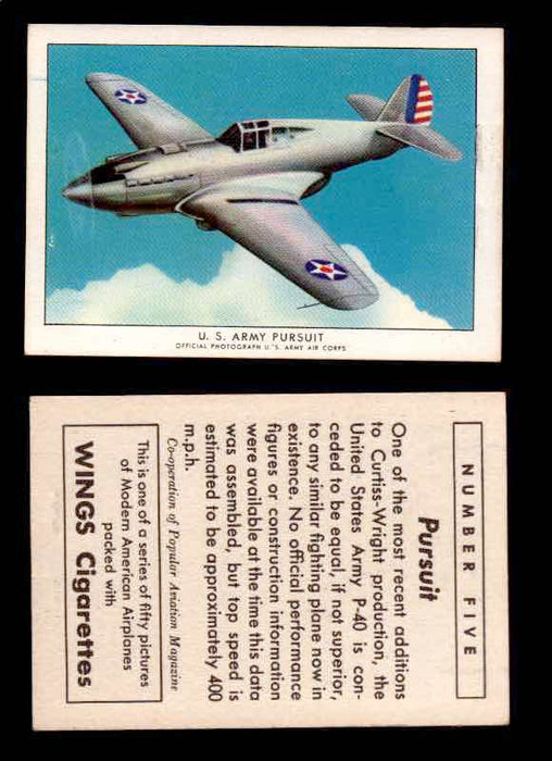 1940 Modern American Airplanes Series 1 Vintage Trading Cards Pick Singles #1-50 5 U.S. Army Pursuit (Curtiss-Wright P-40)  - TvMovieCards.com