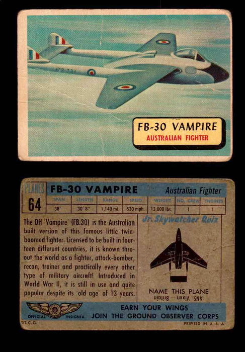 1957 Planes Series II Topps Vintage Card You Pick Singles #61-120 #64  - TvMovieCards.com