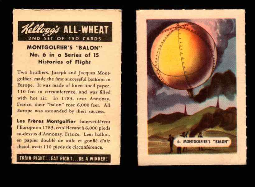 "1946 Kelloggs All-Wheat Series 2 Histories of Flight Vintage Card #1-15 Singles #6 Montgolfier's ""Balon""  - TvMovieCards.com"