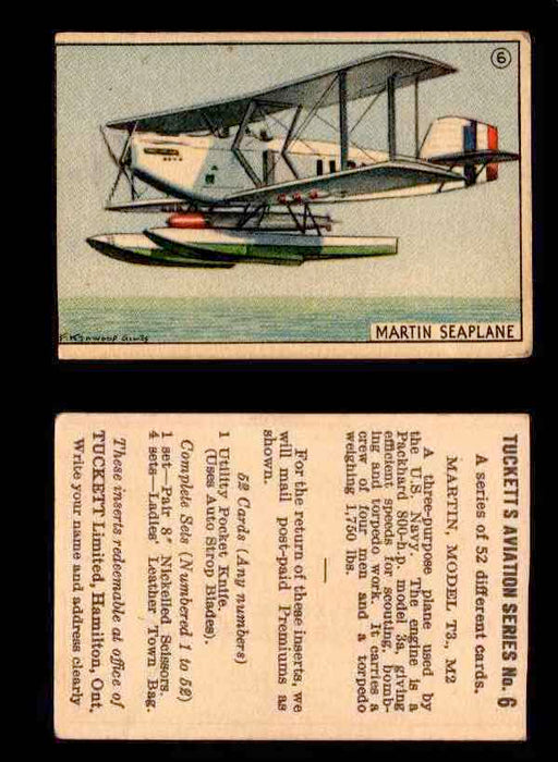 1929 Tucketts Aviation Series 1 Vintage Trading Cards You Pick Singles #1-52 #6 Martin Model T3 M2  - TvMovieCards.com