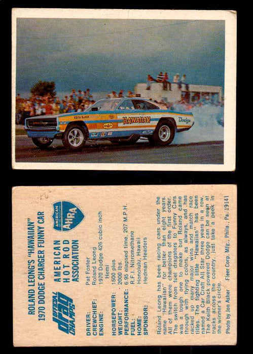 "AHRA Official Drag Champs 1971 Fleer Vintage Trading Cards You Pick Singles 6   Roland Leong's ""Hawaiian""                        1970 Dodge Charger Funny Car  - TvMovieCards.com"