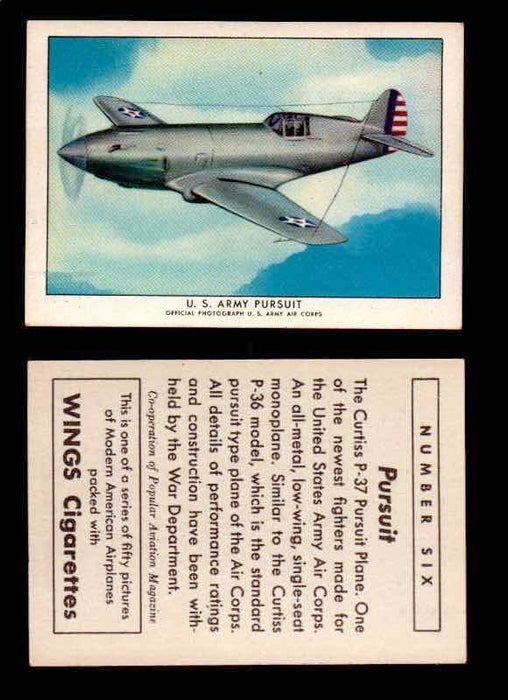 1940 Modern American Airplanes Series 1 Vintage Trading Cards Pick Singles #1-50 6 U.S. Army Pursuit (Curtiss P-37)  - TvMovieCards.com