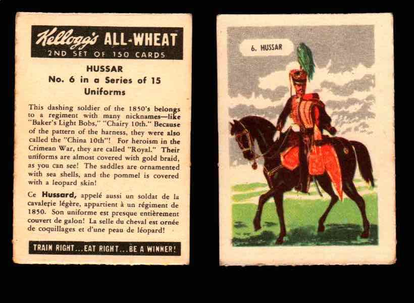 1946 Kelloggs All-Wheat Series 2 Uniforms Vintage Trading Cards #1-15 Singles #6 Hussar  - TvMovieCards.com