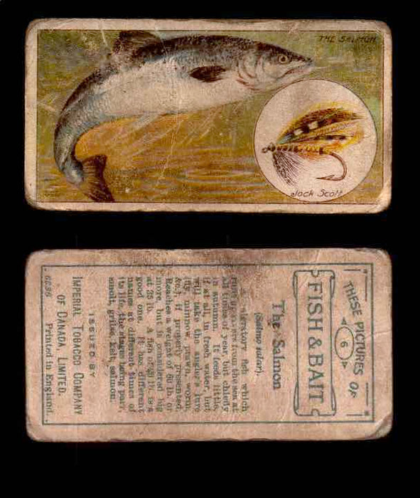 1910 Fish and Bait Imperial Tobacco Vintage Trading Cards You Pick Singles #1-50 #6 The Salmon  - TvMovieCards.com