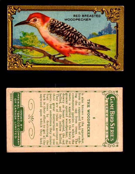 1910 Game Bird Series C14 Imperial Tobacco Vintage Trading Cards Singles  #1-30