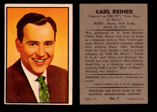 1953 Bowman NBC TV & Radio Stars Vintage Trading Card You Pick Singles #1-96 #7 Carl Reiner  - TvMovieCards.com