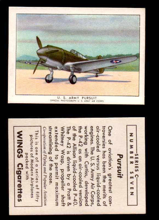1942 Modern American Airplanes Series C Vintage Trading Cards Pick Singles #1-50 7	 	U.S. Army Pursuit  - TvMovieCards.com