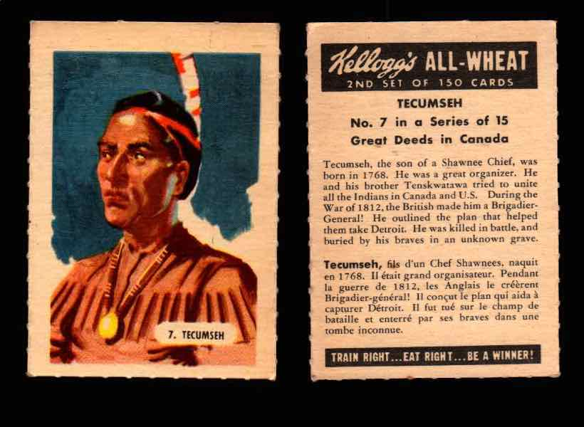 1946 Kelloggs All-Wheat Series 2 Great Deeds in Canada Vintage Card #1-15 Singles #7 Tecumseh  - TvMovieCards.com