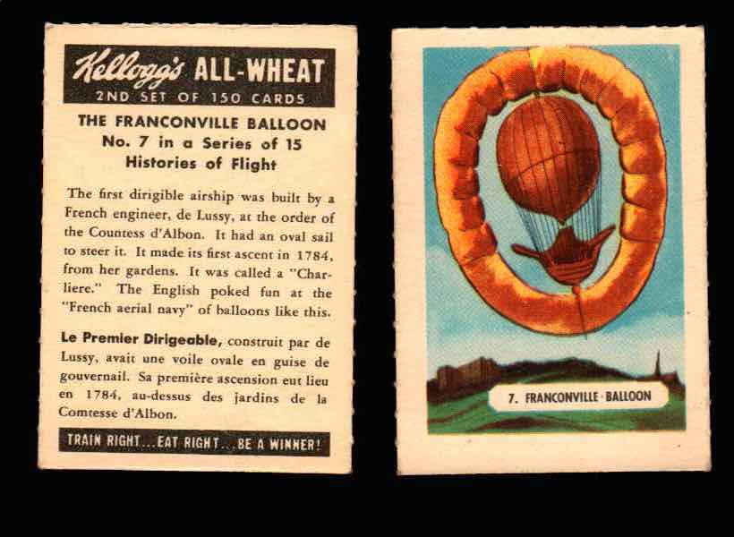 1946 Kelloggs All-Wheat Series 2 Histories of Flight Vintage Card #1-15 Singles #7 The Franconville Ballon  - TvMovieCards.com