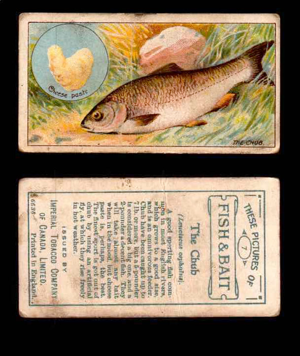 1910 Fish and Bait Imperial Tobacco Vintage Trading Cards You Pick Singles #1-50 #7 The Chub  - TvMovieCards.com