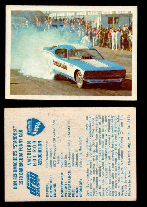 "AHRA Official Drag Champs 1971 Fleer Vintage Trading Cards You Pick Singles 7   Don Schumacher's ""Stardust""                      1970 Barracuda Funny Car  - TvMovieCards.com"