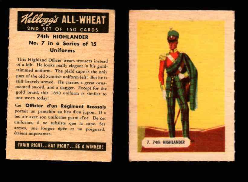1946 Kelloggs All-Wheat Series 2 Uniforms Vintage Trading Cards #1-15 Singles #7 74th Highlander  - TvMovieCards.com