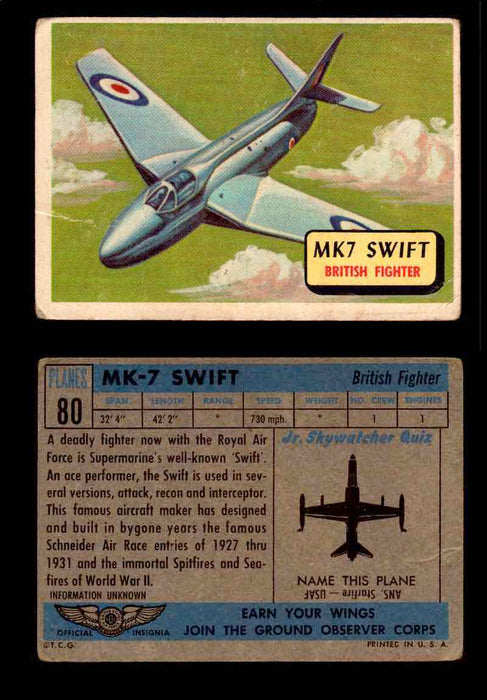 1957 Planes Series II Topps Vintage Card You Pick Singles #61-120 #80  - TvMovieCards.com