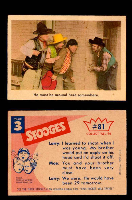 1959 Three 3 Stooges Fleer Vintage Trading Cards You Pick Singles #1-96 #81  - TvMovieCards.com