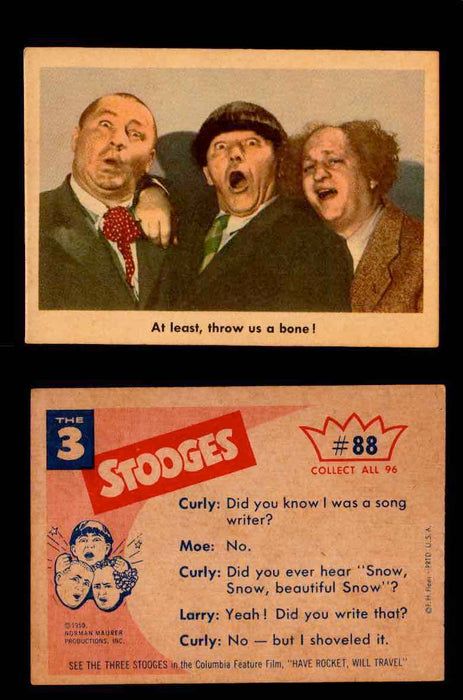 1959 Three 3 Stooges Fleer Vintage Trading Cards You Pick Singles #1-96 #88  - TvMovieCards.com