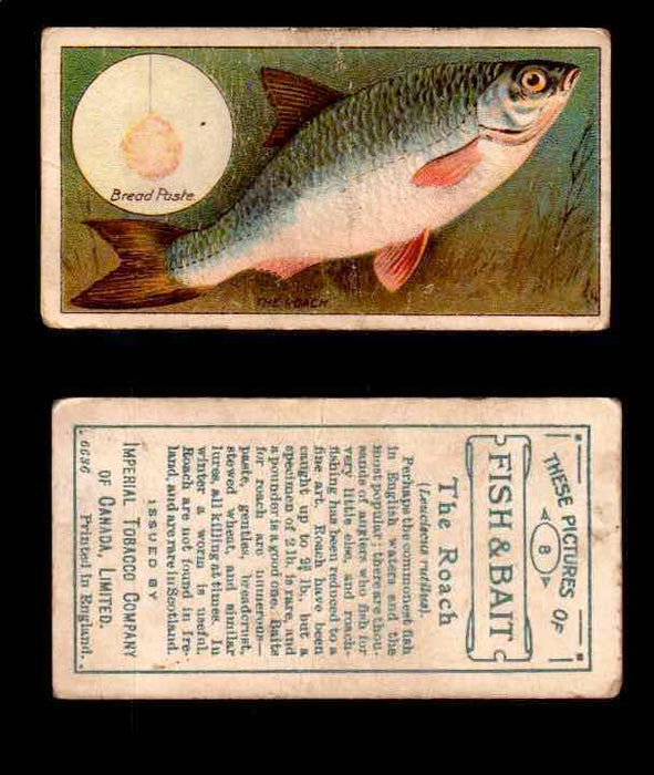 1910 Fish and Bait Imperial Tobacco Vintage Trading Cards You Pick Singles #1-50 #8 The Roach  - TvMovieCards.com