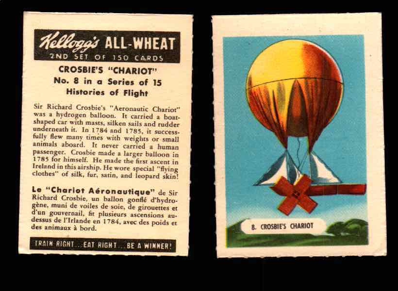 1946 Kelloggs All-Wheat Series 2 Histories of Flight Vintage Card #1-15 Singles #8 Crosbie's Chariot  - TvMovieCards.com