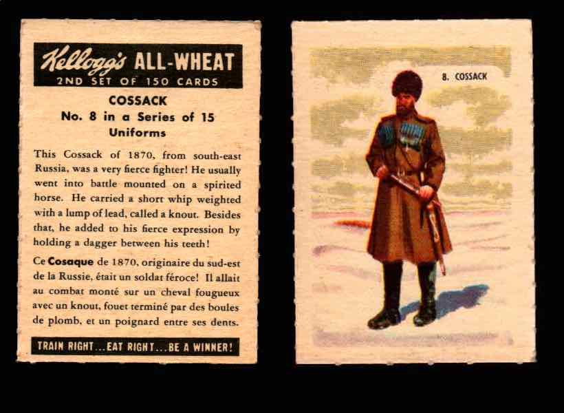 1946 Kelloggs All-Wheat Series 2 Uniforms Vintage Trading Cards #1-15 Singles #8 Cossack  - TvMovieCards.com