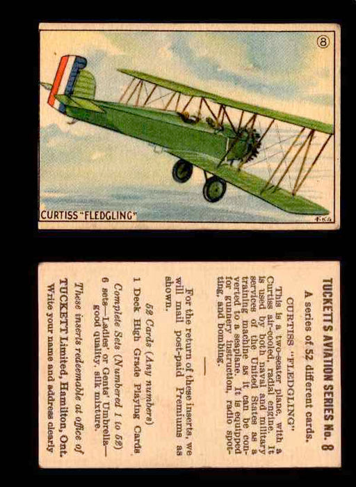 "1929 Tucketts Aviation Series 1 Vintage Trading Cards You Pick Singles #1-52 #8 Curtiss ""Fledgling""  - TvMovieCards.com"