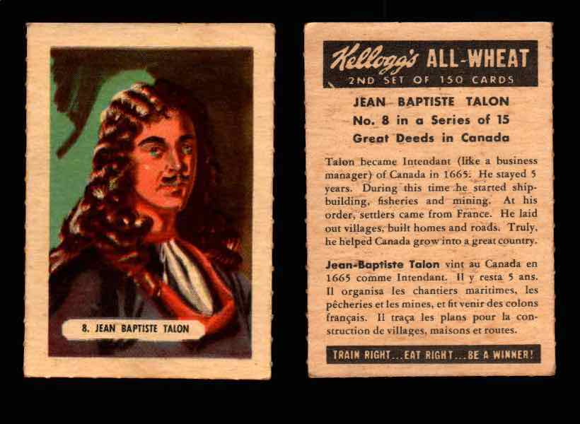 1946 Kelloggs All-Wheat Series 2 Great Deeds in Canada Vintage Card #1-15 Singles #8 Jean-Baptiste Talon  - TvMovieCards.com