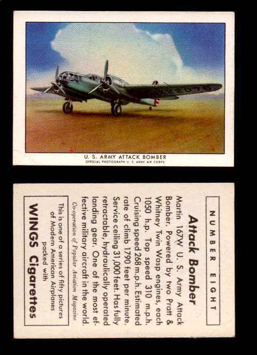 1940 Modern American Airplanes Series 1 Vintage Trading Cards Pick Singles #1-50 8 U.S. Army Attack Bomber (Martin 167W)  - TvMovieCards.com
