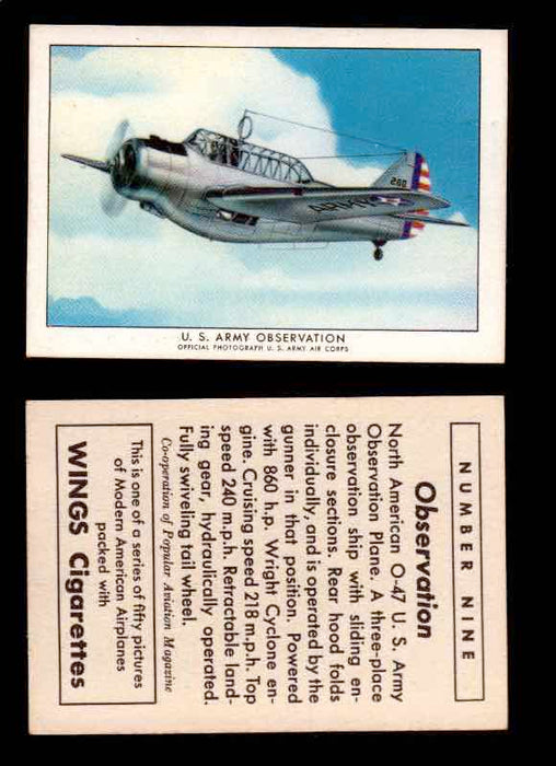 1940 Modern American Airplanes Series 1 Vintage Trading Cards Pick Singles #1-50 9 U.S. Army Observation (North American O-47)  - TvMovieCards.com