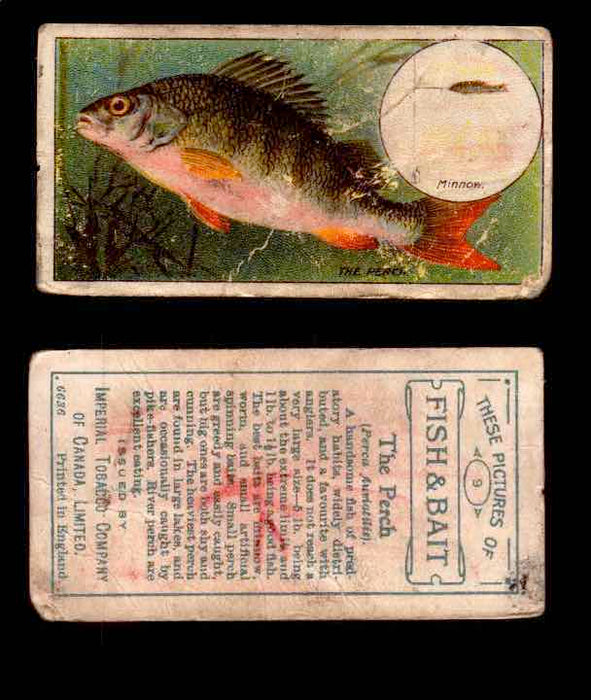 1910 Fish and Bait Imperial Tobacco Vintage Trading Cards You Pick Singles #1-50 #9 The Perch  - TvMovieCards.com