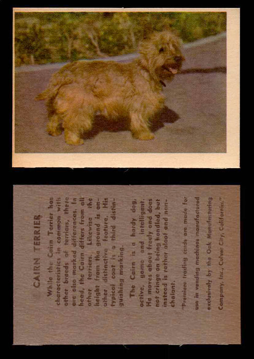 1957 Dogs Premiere Oak Man. R-724-4 Vintage Trading Cards You Pick Singles #1-42 #9 Cairn Terrier  - TvMovieCards.com