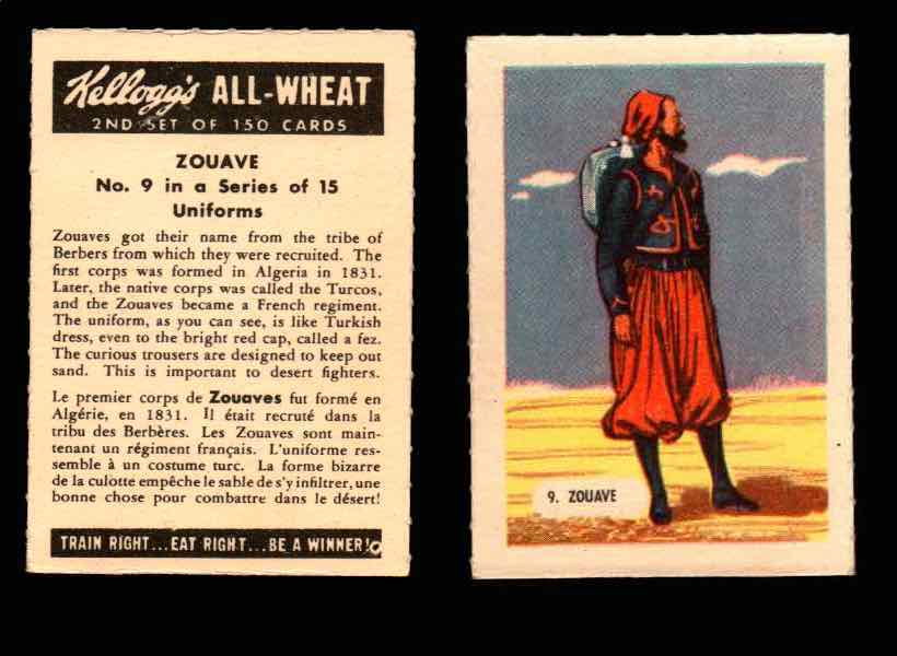 1946 Kelloggs All-Wheat Series 2 Uniforms Vintage Trading Cards #1-15 Singles #9 Zouave  - TvMovieCards.com