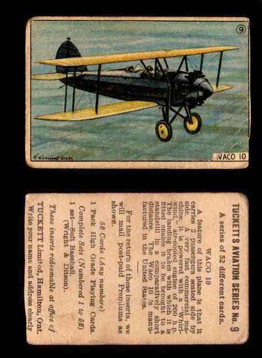 1929 Tucketts Aviation Series 1 Vintage Trading Cards You Pick Singles #1-52 #9 Waco 10  - TvMovieCards.com