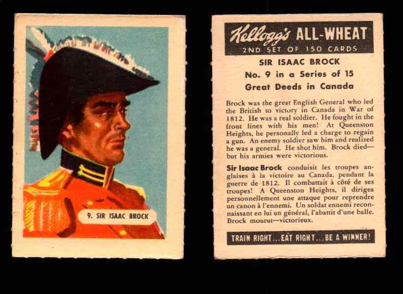 1946 Kelloggs All-Wheat Series 2 Great Deeds in Canada Vintage Card #1-15 Singles #9 Sir Isaac Brock  - TvMovieCards.com