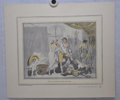 "T Rowlandson ""Four o'clock in the Country"" Lithograph Etching Print 16"" x 18.5""   - TvMovieCards.com"