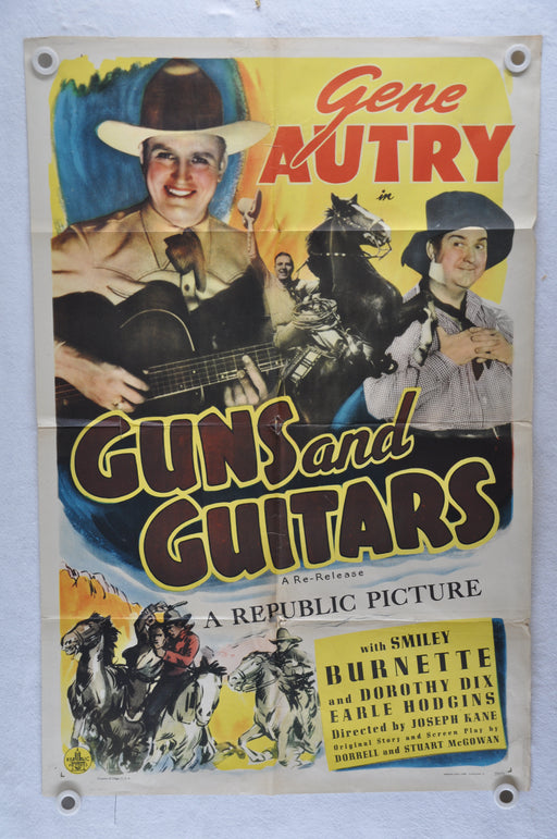 Guns and Guitars Original 1SH Movie Poster 27 x 41 Gene Autry Smiley Burnette   - TvMovieCards.com