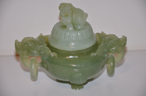 Antique Chinese Green Jade Carved Dragon Ink Well - Dog Mini Vase Perfume   - TvMovieCards.com