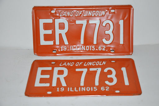 1962 Illinois License Plate Pair #ER 7731 Passenger Car Original Tag YOM Rat Rod