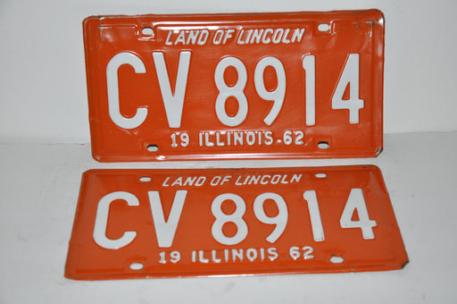 1962 Illinois License Plate Pair #CV 8914 Passenger Car Original Tag YOM Rat Rod