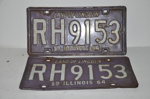 1964 Illinois License Plate Pair #RH9153 Passenger Car Original Tag YOM Rat Rod