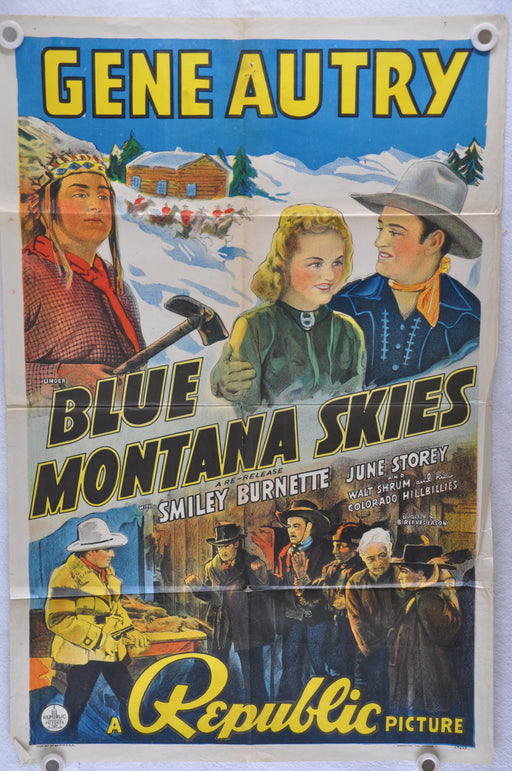 Blue Mountain Skies Original 1SH Movie Poster Gene Autry Smiley Burnette   - TvMovieCards.com