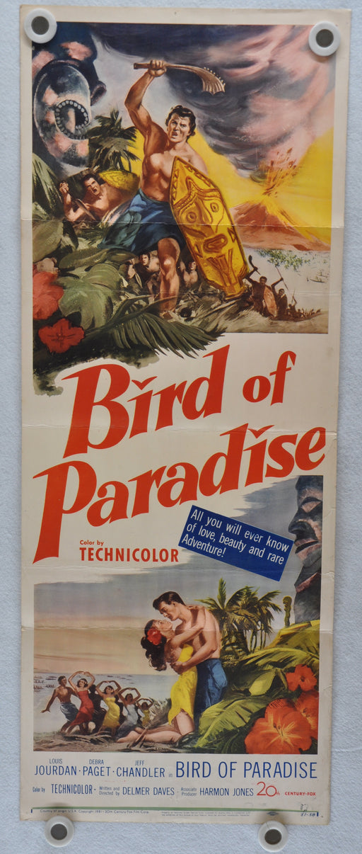 1951 Bird of Paradise Original Insert Movie Poster Debra Paget Louis Jourdan   - TvMovieCards.com