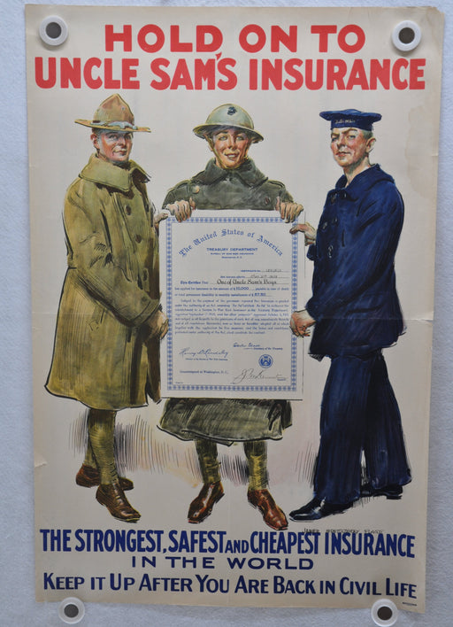 WWI Propaganda Bureau of War Risk Hold Onto Uncle Sam's Insurance Poster 20 X 30   - TvMovieCards.com